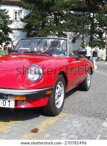 Prague - Zbraslav, Czech Republic - September 06, 2014: Alfa Romeo Spider - Classic Italian coupe during veteran race - stock photo