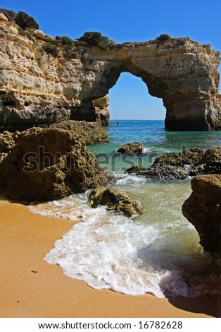Praia da Albandeira, Algarve Portugal - stock photo