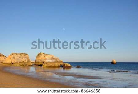 Praia da Rocha before sunset, Portimao in Algarve, Portugal