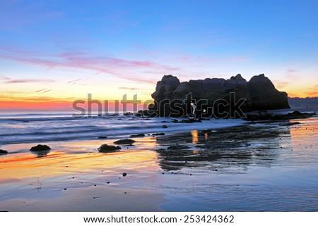 Praia da Rocha near Portimao in the Algarve Portugal - stock photo