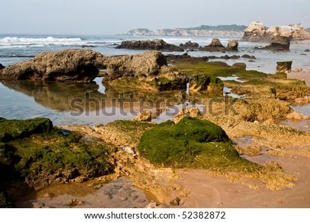 Praia da Rocha on the Atlantic Ocean in Algarve, southern Portugal. - stock photo