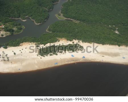 Praia de Lua (Moon Beach) Manaus, view from plane, Amazonas Brazil - stock photo
