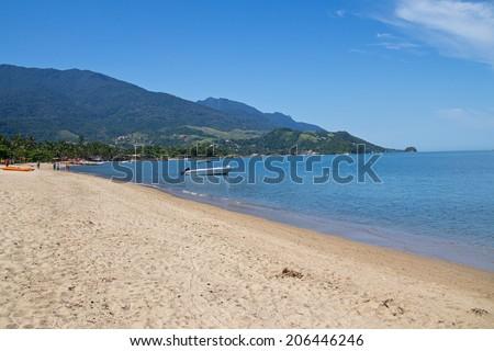 Praia do Pereque (Pereque's beach - St. Sebastian Island) - Ilhabela - Sao Paulo - Brazil - stock photo