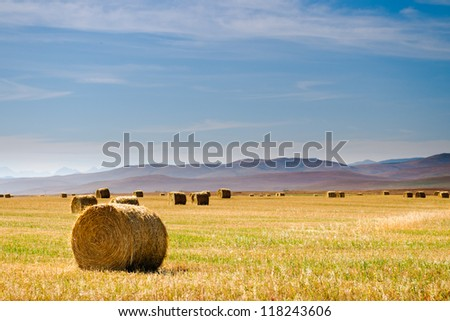 Prairie and farmlands in the foothills of southern Alberta, Canada - stock photo