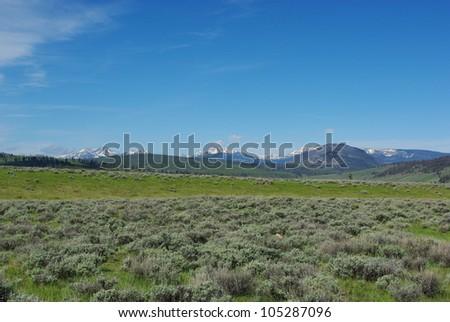 Prairie and Rockies, Wyoming - stock photo