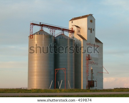 prairie grain elevator - stock photo