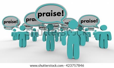 Praise People Speech Bubbles Compliments Words 3d Illustration - stock photo