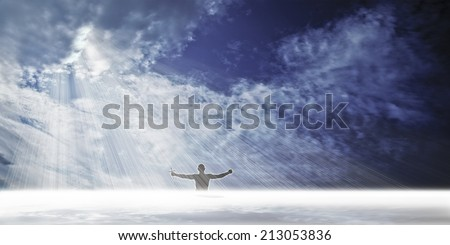 Praise the Lord - Water baptism - stock photo