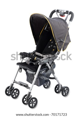 Pram baby carriage isolated on white background - stock photo
