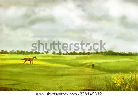 Prancing horse in the wilderness, digital drawing, sketch - stock photo