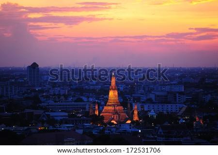 Prang of Wat Arun, The Temple of Dawn, Bangkok ,Thailand - stock photo