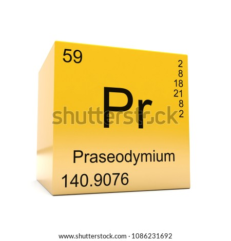 Praseodymium chemical element symbol periodic table stock praseodymium chemical element symbol from the periodic table displayed on glossy yellow cube 3d render urtaz Images