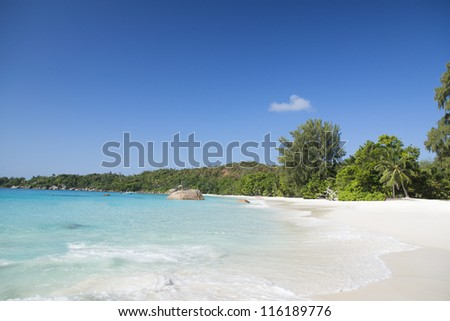 Praslin island, Seyshelles. The island of dreams for a rest and relaxation. - stock photo