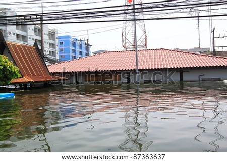 PRATHUMTHANI, THAILAND - OCT 23 : flooded street after flood disaster in Nava nakorn, Patumtana, Thailand on October 23, 2011. - stock photo