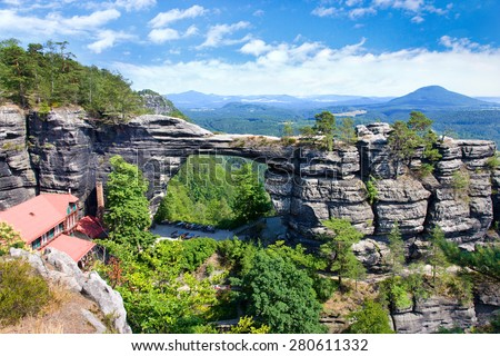Pravcicka gate (the biggest natural arch in Europe), Czech-Saxon Switzerland, Czech republic. - stock photo