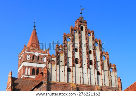 PRAVDINSK, KALININGRAD REGION, RUSSIA - MARCH 24, 2015: The parish of St. George, formerly Lutheran church Friedland in the city of Pravdinsk, Kaliningrad region