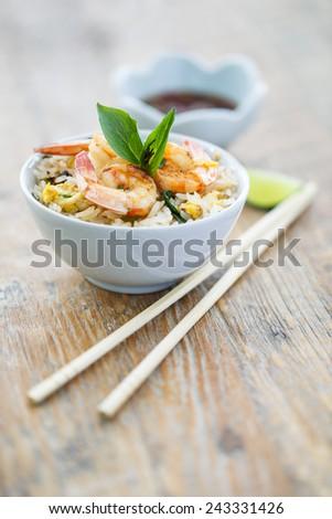 Prawn fried rice - stock photo