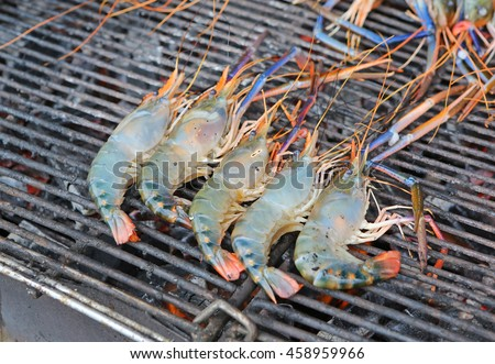prawn grilled barbecued - stock photo