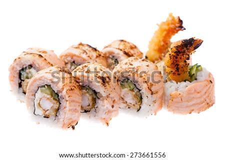 Prawn tempura, cream cheese, cucumber, baked salmon and  masago sauce rolls isolated on white background - stock photo