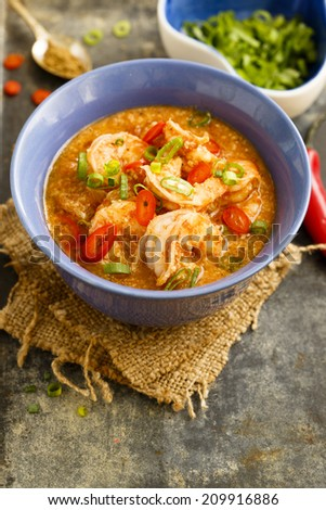 Prawns and cashew curry - stock photo