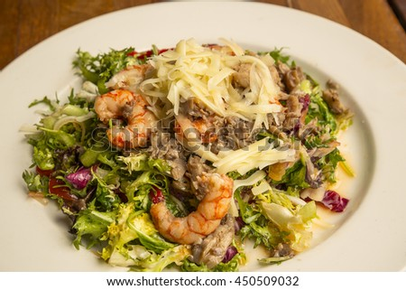Prawns, mushrooms and cheese fresh salad - stock photo
