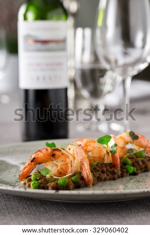 prawns served on lentils