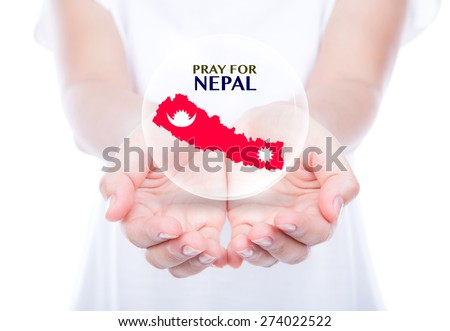 Pray for Nepal. Earthquake Crisis - stock photo