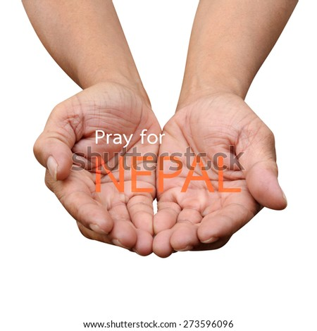 Pray for NEPAL Earthquake Crisis nature abstract on helping hands - stock photo