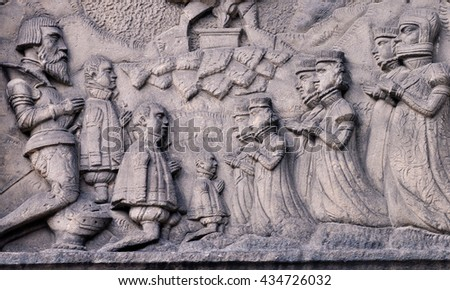 Pray for the dead. Part of sepulchral sculpture - stock photo