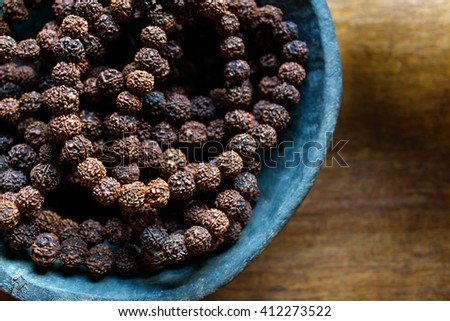 Prayer beads made of rudraksha seeds traditionally used for prayer beads in Hinduism and Buddhism - stock photo