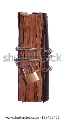 prayer book with padlock and chain - stock photo