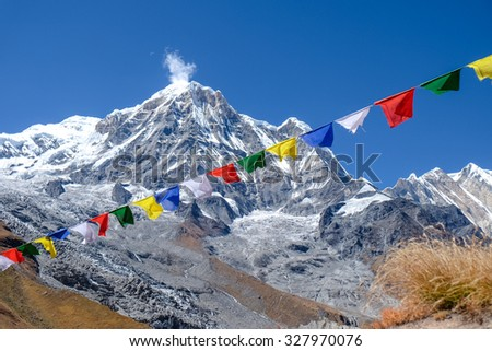 prayer flags in annapurna base camp