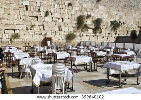 Prayer of Jews at Western Wall. Jerusalem Israel  - stock photo