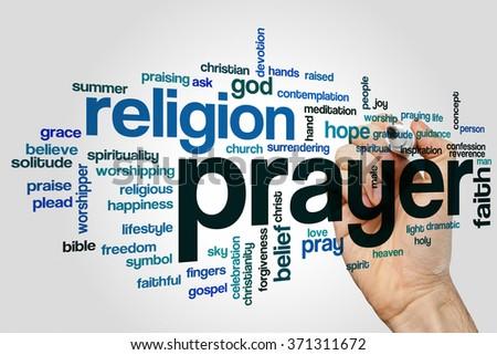 Prayer word cloud - stock photo