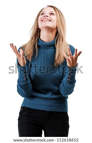 Praying girl isolated on white background - stock photo