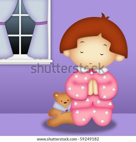 Praying girl wearing pink pajamas praying in her room - stock photo