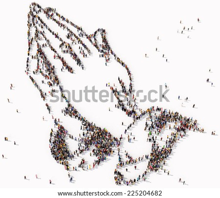 Praying hands formed out of people seen from above on white background - stock photo