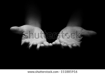 Praying Hands in black and white - stock photo