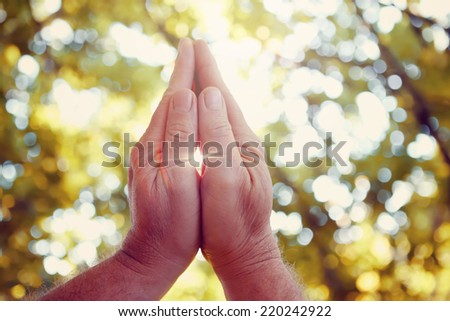 Praying hands. Instagram effect. - stock photo