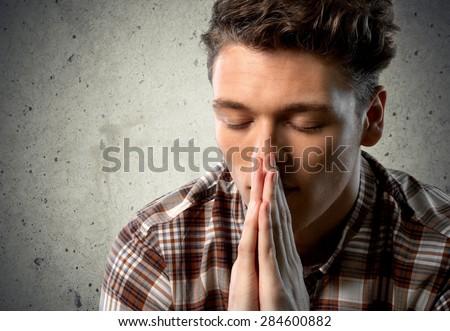Praying, Men, Church. - stock photo