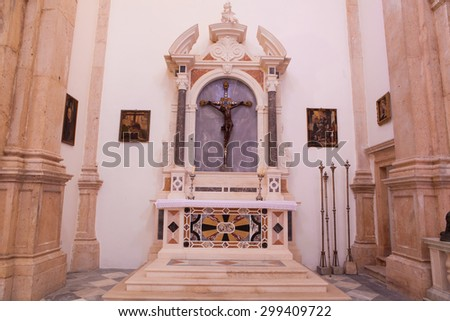 PRCANJ, MONTENEGRO - JULY 23, 2015: The Catholic Church of the Birth of the Virgin Mary in Prcanj, Montenegro, on July 23, 2015 - stock photo