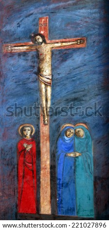 PRCANJ, MONTENEGRO - JUNE, 08: 12th Stations of the Cross, Jesus dies on the cross, the Catholic Church of the Birth of the Virgin Mary, on June 08, 2012, in Prcanj, Montenegro - stock photo