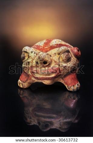 Pre-Columbian Anthropomorphic frog rattle,made around 300AD - stock photo
