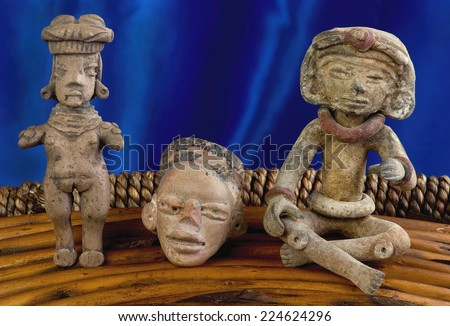 Pre Columbian figures made around 100 BC to 600 AD. - stock photo