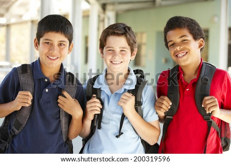 Pre teen boys at school - stock photo
