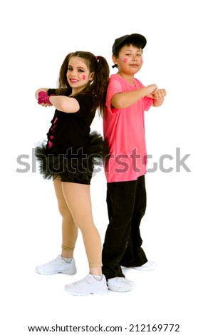 Pre Teen Kids in Hip Hop Duet with Recital Costume and Makeup - stock photo