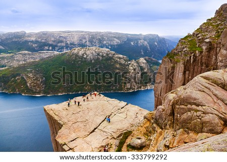 Preachers Pulpit Rock in fjord Lysefjord - Norway - nature and travel background - stock photo
