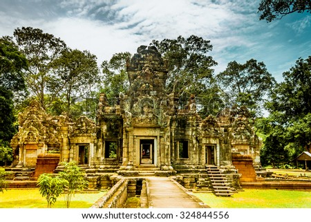 Preah Khan,siem reap ,Cambodia, was inscribed on the UNESCO World Heritage List in 1992. - stock photo