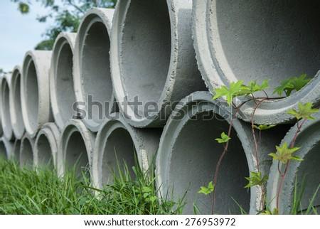 Precast reinforced concrete drainsge pipe  - stock photo