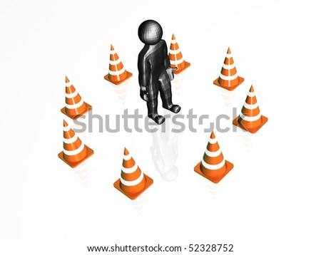 Precautionary cones arranged along the circle, white reflective background. - stock photo